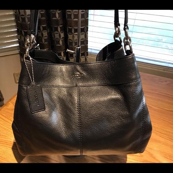 eb9d8d24bf Coach Lexy Black Pebble Leather Shoulder Bag BONUS